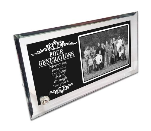 Personalised Four Generations Crystal Photo Frame